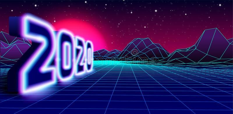 2020 Neonschild für 80er Jahre Retro New Years Eve Feier mit Arcade Spiel Grid Landschaft und violette Sonne lizenzfreie abbildung