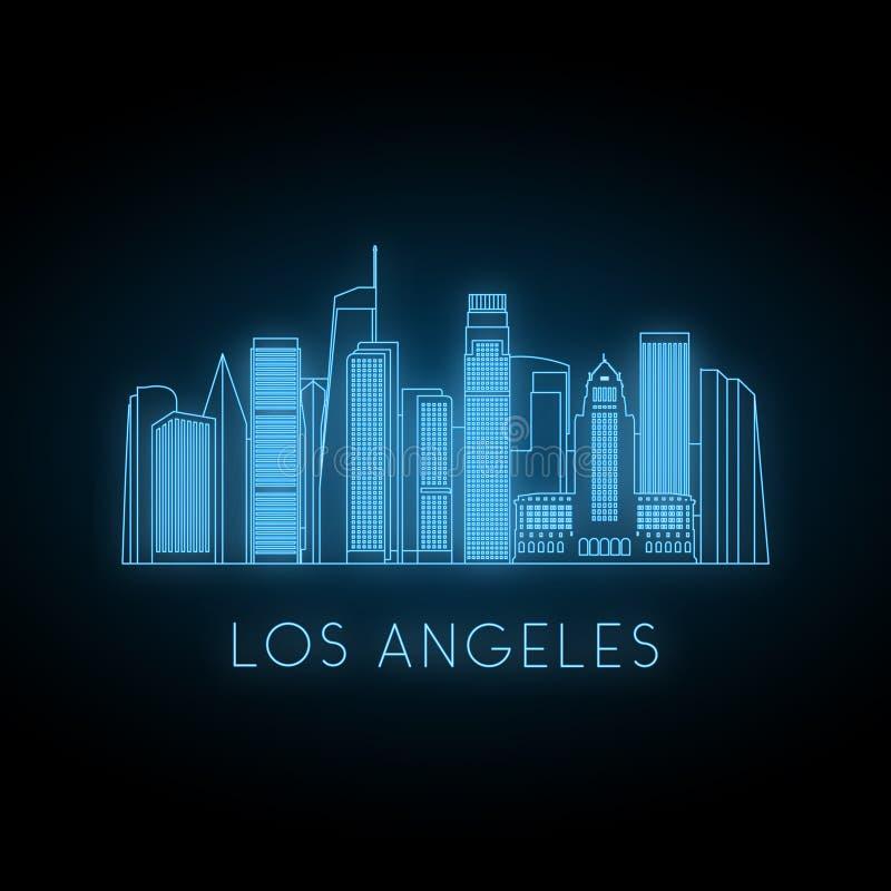 Neonsilhouet van de stad van Los Angeles stock illustratie