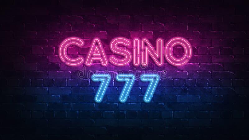 Neonskylt för kasino 777 för banerdesign Kasinovegas lek Neontecken, ljust baner Segerf?rm?genhetroulett Förmögenhetmöjlighet vektor illustrationer