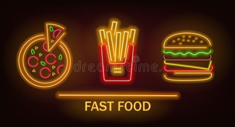 Neonsnabbmatuppsättning, franska småfiskar, pizza och hamburgare, neonljus vektor illustrationer