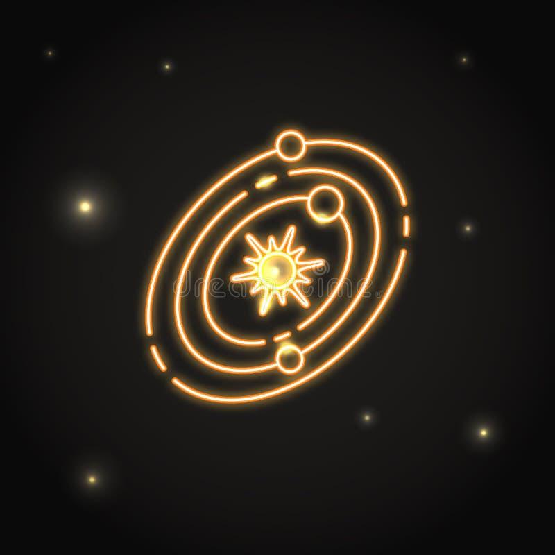 Neonsolsystemsymbol i den tunna linjen stil stock illustrationer