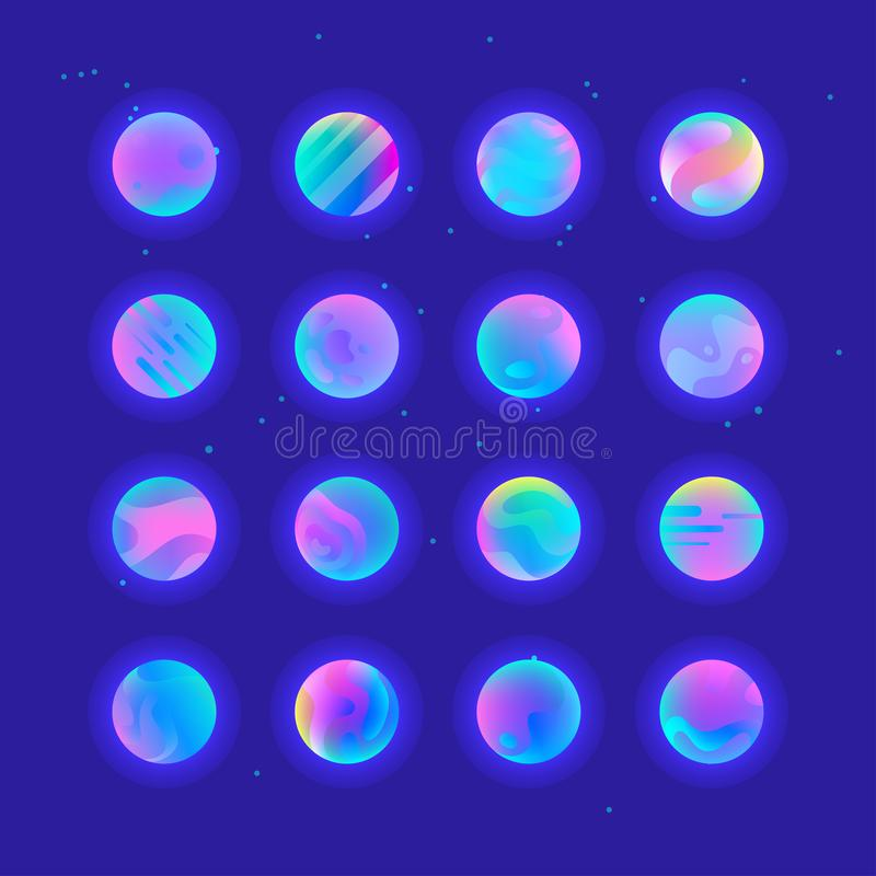 Neonsteigungsplaneten stock abbildung