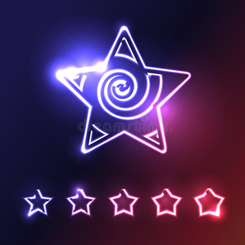 Neonstern-Ikonen-Sammlung auf dunklem Hintergrund stock abbildung