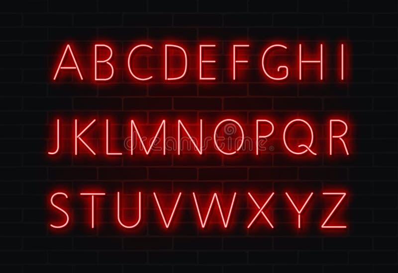Neonstilsortsvektor Ljus uppsättning för alfabettexttecken Glödande nattstilsort för stången, kasino, parti röd vägg royaltyfri illustrationer