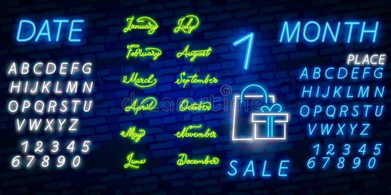 Neonsymbol för allt månadnamn med färgrika beståndsdelar: Vektorillustration Glödande neontecken, ljus glödande advertizing, förs arkivbild