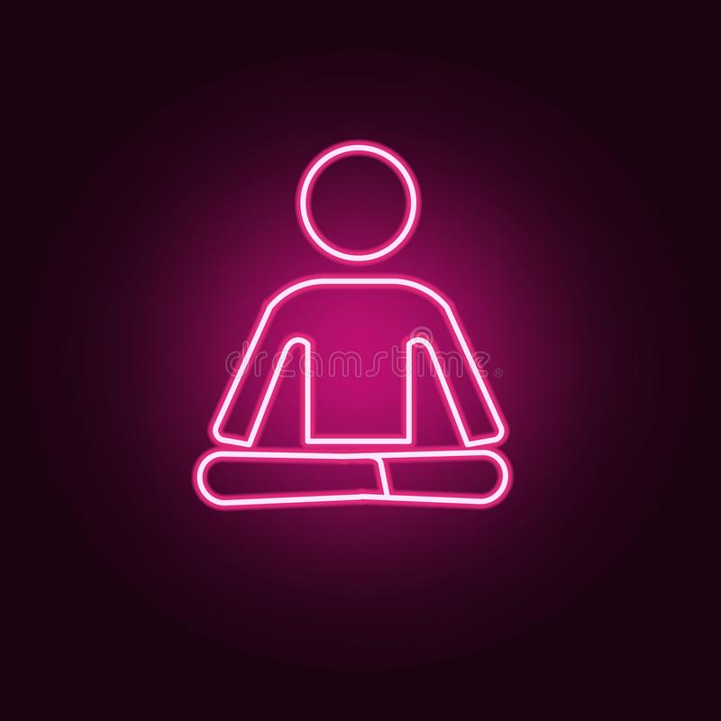 Neonsymbol för buddistisk munk r Enkel symbol f?r websites, reng?ringsdukdesign, mobil app, informationsdiagram royaltyfri illustrationer