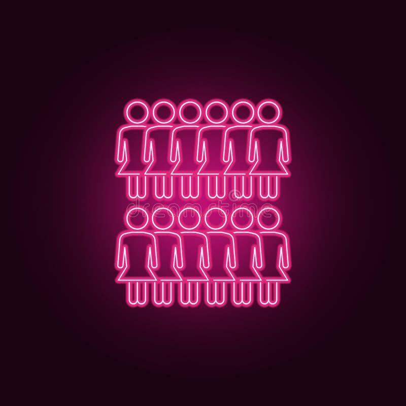 neonsymbol för flickor i rad Best?ndsdelar av folkupps?ttningen Enkel symbol f?r websites, reng?ringsdukdesign, mobil app, inform stock illustrationer