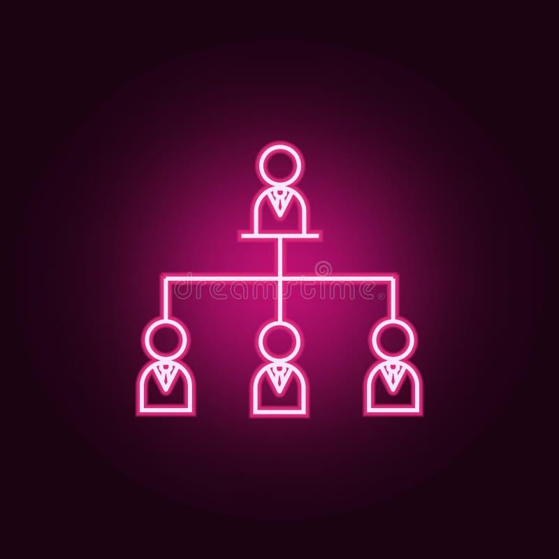 neonsymbol för organisatoriskt diagram Best?ndsdelar av lagarbetsupps?ttningen Enkel symbol f?r websites, reng?ringsdukdesign, mo royaltyfri illustrationer