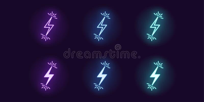 Neonsymbolsuppsättning av exponeringen för blixtbult vektor vektor illustrationer