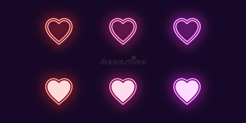 Neonsymbolsupps?ttning av modehj?rta Gl?dande f?r?lskelse vektor illustrationer