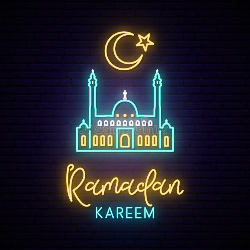 Neontecken av Ramadan Kareem f stock illustrationer