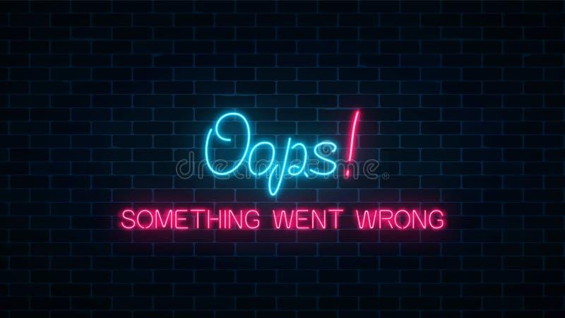 Neontecken av sidan för 404 fel med rolig text på mörk bakgrund för tegelstenvägg Sida för webbplats för neonanslutningsfel royaltyfri illustrationer