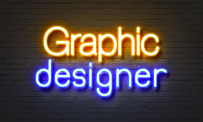 Neontecken för grafisk formgivare på bakgrund för tegelstenvägg stock illustrationer