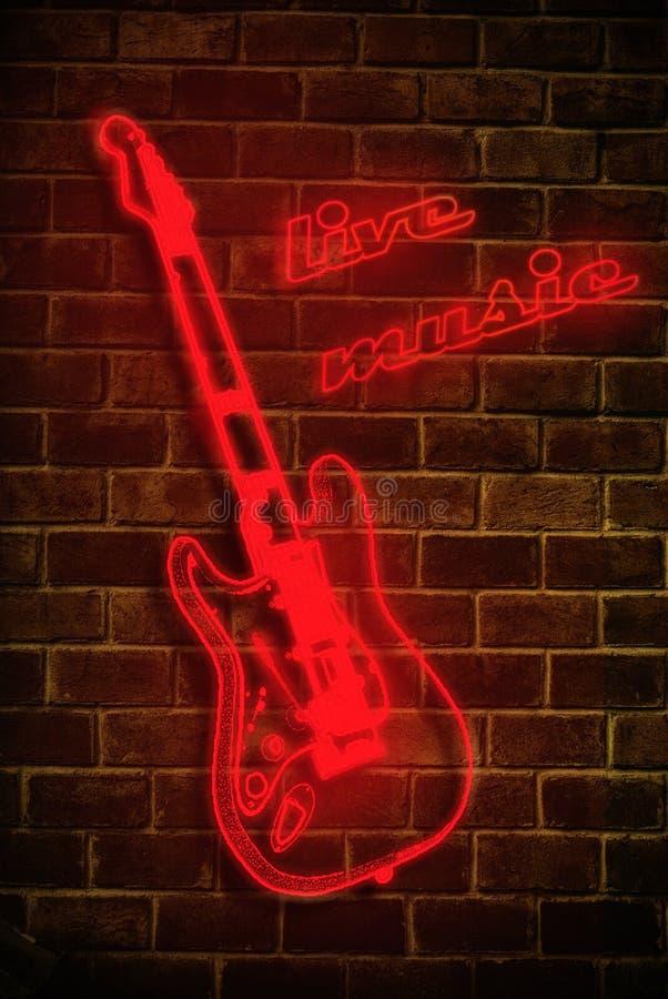 Neontecken för Live musik stock illustrationer