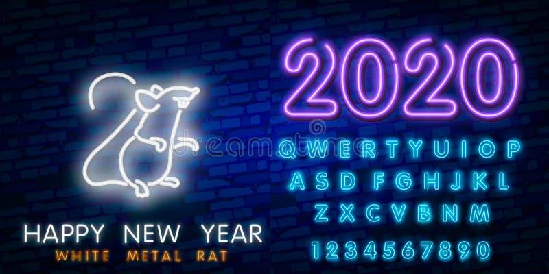 Neontecken f?r nytt ?r 2020 Stycke av ost med tv?tusen tjugo nummer och att tjalla p? tegelstenbakgrund Vektorillustration i neon