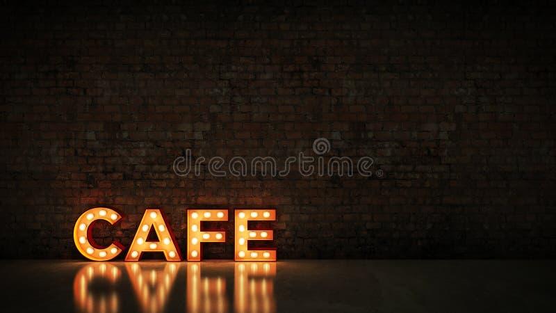 Neontecken på bakgrund för tegelstenvägg - kafé framförande 3d stock illustrationer