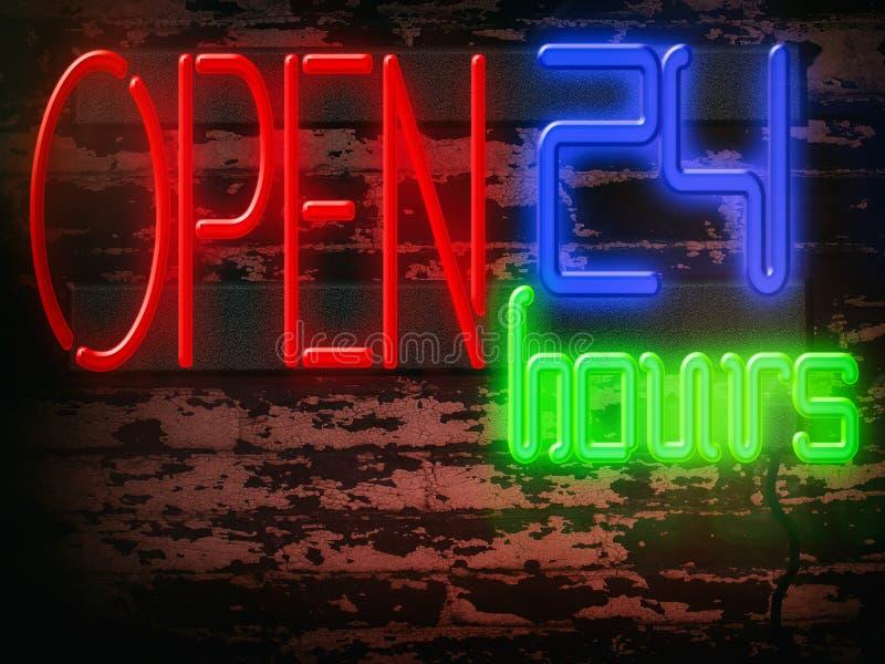 Neontecknet öppnar 24 timmar stock illustrationer