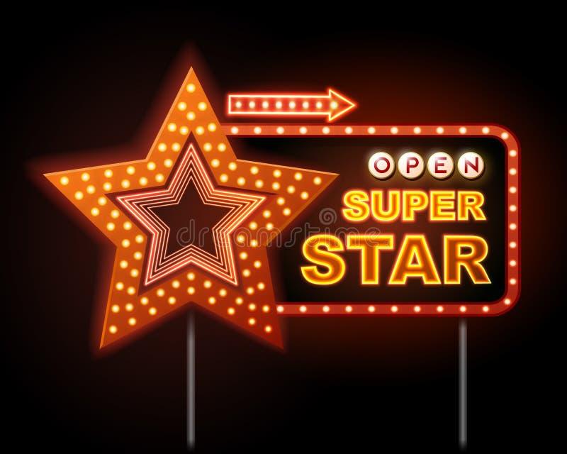 Neontecknet av diskostjärnan och neon smsar den toppna stjärnan stock illustrationer