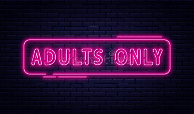 Neontecknet, vuxna människor endast, 18 plus, könsbestämmer och xxx Inskränkt innehåll, erotiskt videopn begreppsbaner, affischta royaltyfri illustrationer