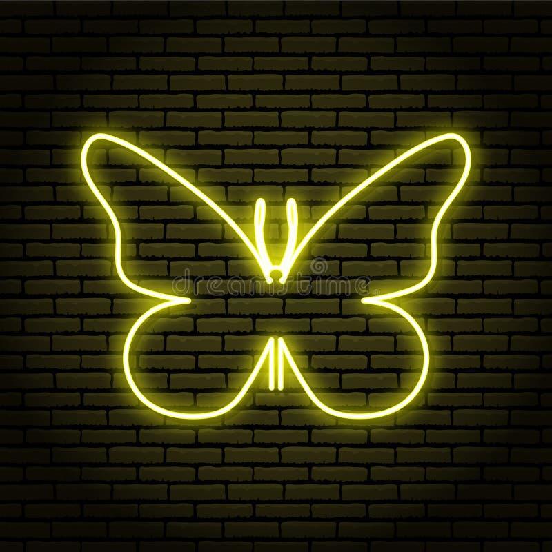 Neonteken met gele gloed Vlinders Lamp Op een bakstenen muurachtergrond royalty-vrije illustratie