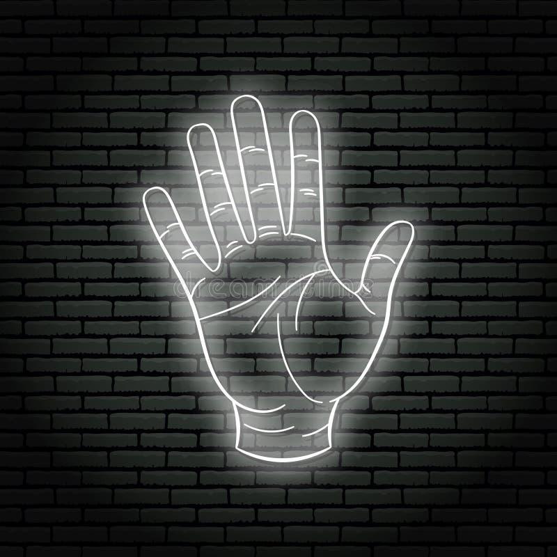 Neonteken met witte gloed Handgebaar, open palm stock illustratie