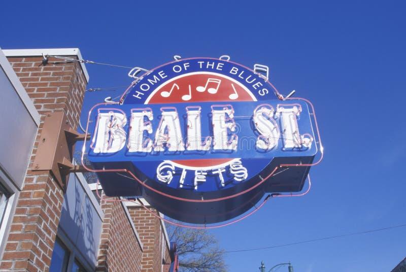 Neonteken op Beale-Straat, huis van de Blauw, Memphis, TN stock afbeeldingen
