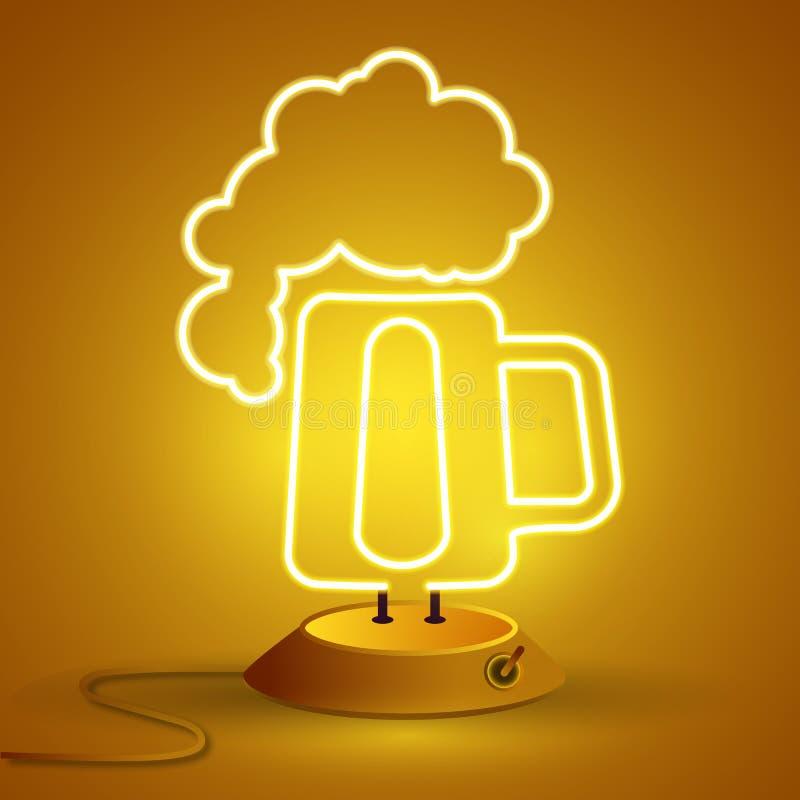 Neonteken van bier, helder uithangbord, lichte banner Het embleem, het embleem en het symbool van het bierhuis stock illustratie