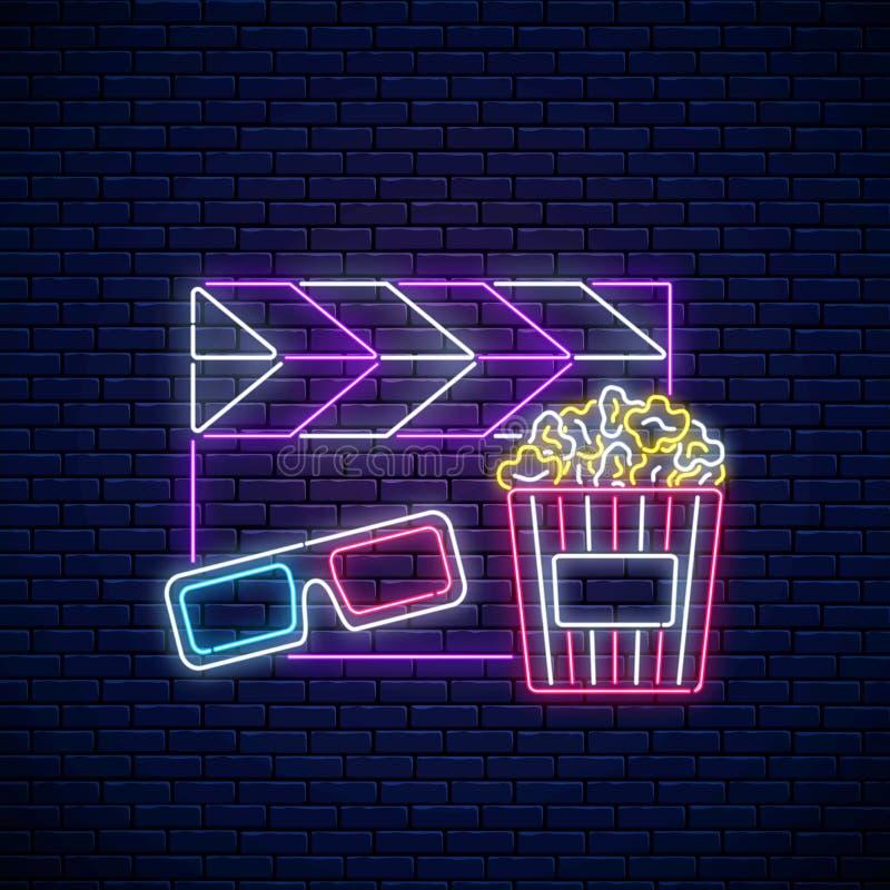 Neonteken van bioskoopnacht Het neonembleem van de bioskooptijd, uithangbord, banner met popcorn, 3D glazen en film clapperboard royalty-vrije illustratie
