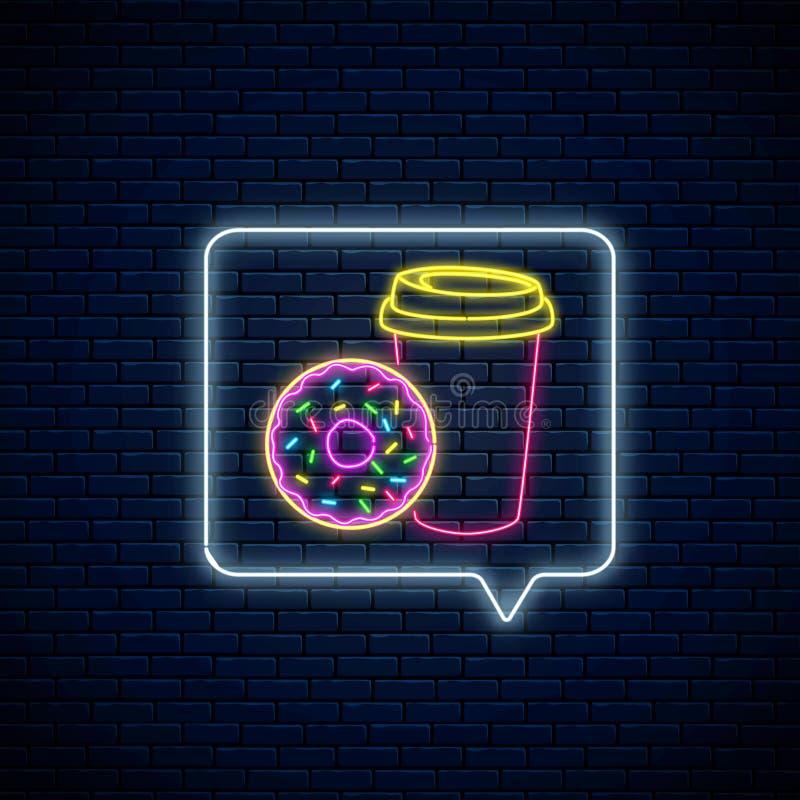 Neonteken van doughnut en koffiekop in het kader van het berichtbericht Voedsel en dranksymbool in toespraakbel in neonstijl vector illustratie