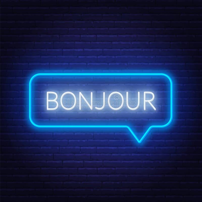Bonjour Word Hello In Het Frans Modieuze Kalligrafie Vector