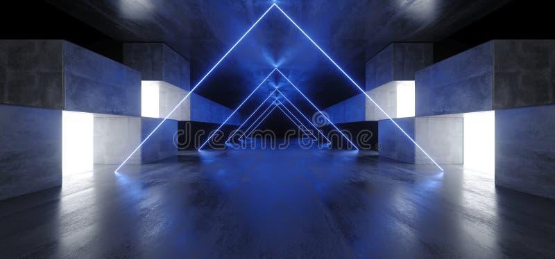 Neontriangeln tänder för den Sci Fi för diagrammet det glödande blåa vibrerande faktiska podiet för garaget för konstruktion för  vektor illustrationer