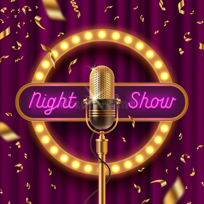 Neonuithangbord, bekendheid met gloeilampen en Retro microfoon op stadium gainst het purpere gordijn en de dalende gouden confett royalty-vrije illustratie