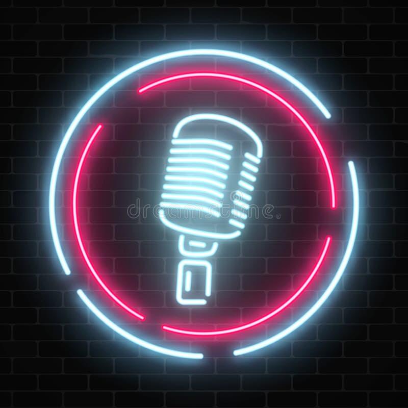 Neonuithangbord met microfoon in rond kader Gloeiend straatteken van bar met karaoke en levende zangers stock illustratie