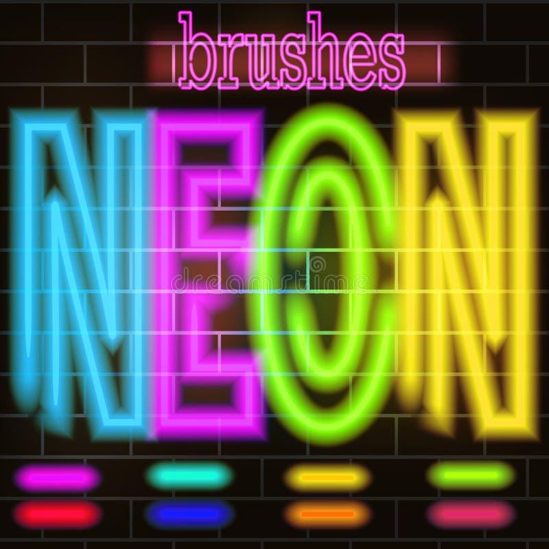 Neonverstralers gekleurde borstels voor inschrijvingen, tekeningen, tekens Een reeks van het ontwerp van het borstelsneon vector illustratie