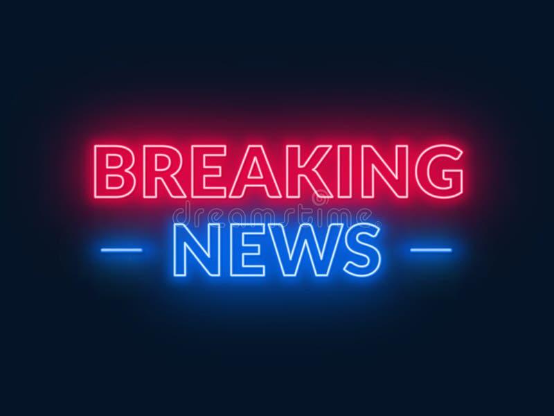 Neonzeichen der letzten Nachrichten auf schwarzem Hintergrund stock abbildung