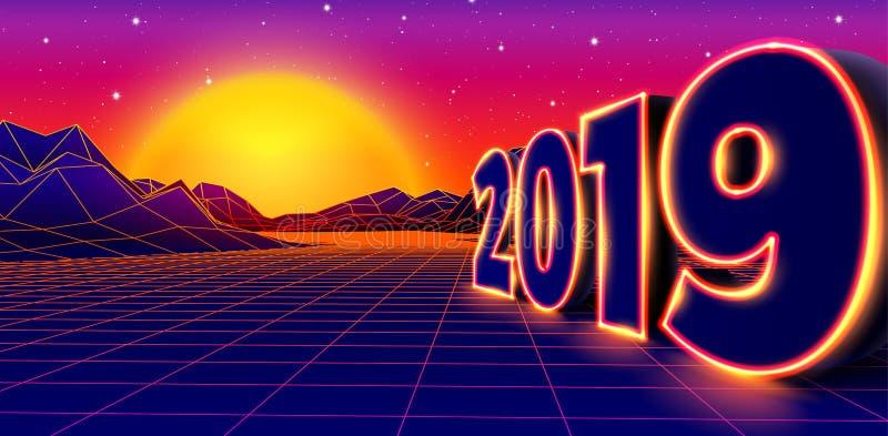 2019 Neonzeichen für 80er Jahre Retro New Years Eve Feier mit Arcade Spiel Grid Landschaft und gelbe Sonne lizenzfreie abbildung