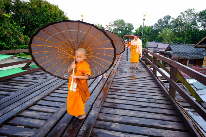 Neophyte walking on the wooden bridge (400 m. long made by hand) royalty free stock images