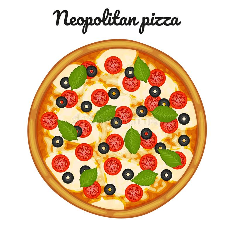 Neopolitan pizza with mozzarella, cherry tomatoes, and basil. Object for packaging, advertisements, menu. Isolated on white. Vector illustration. Cartoon stock illustration