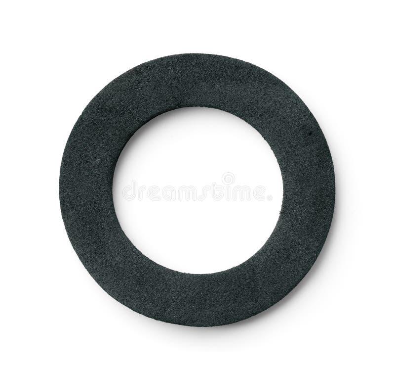 Neoprene ring rubber gasket. Top view of neoprene ring rubber gasket isolated on white stock images