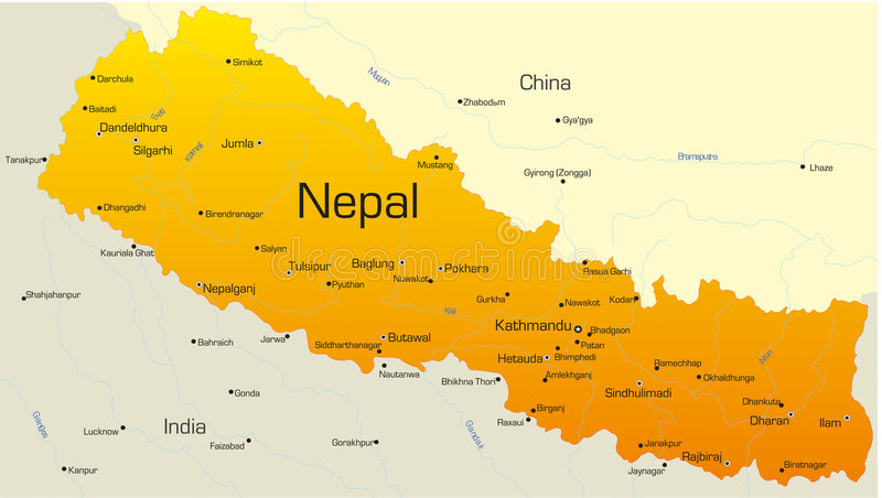 Nepal. Vector map of Nepal country