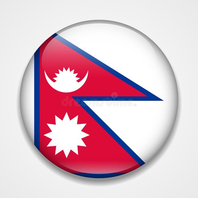 Nepal bandery Round glansowana odznaka ilustracji