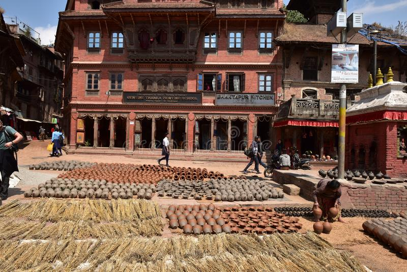 Nepal, Bhaktapur, Potters' Square. Potters' Square is not cherished square full of cultural sites, but if you are interested in the process of royalty free stock images