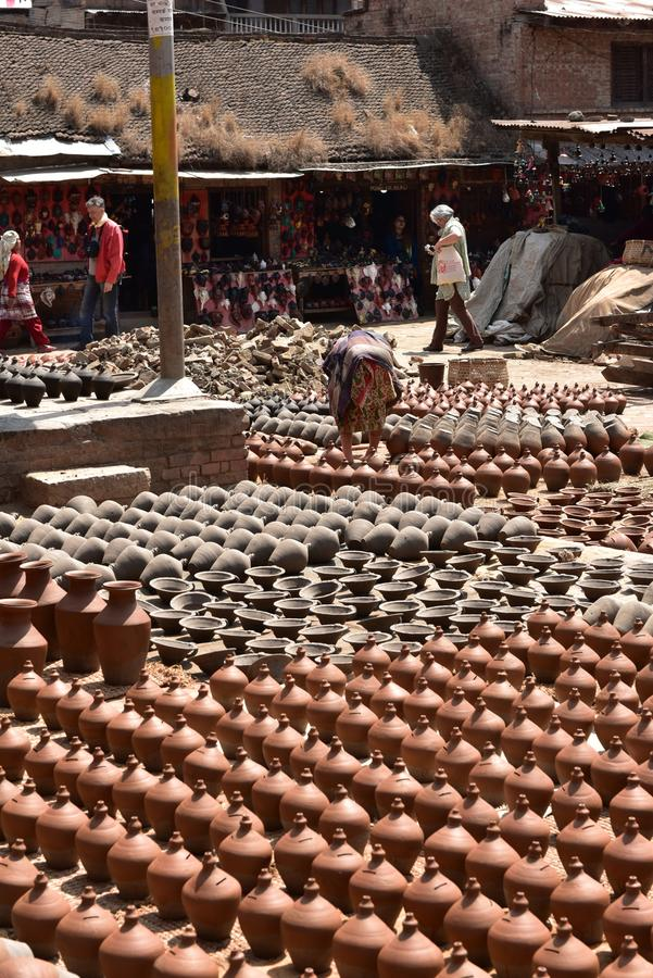 Nepal, Bhaktapur, Vierkant Potters' royalty-vrije stock afbeelding