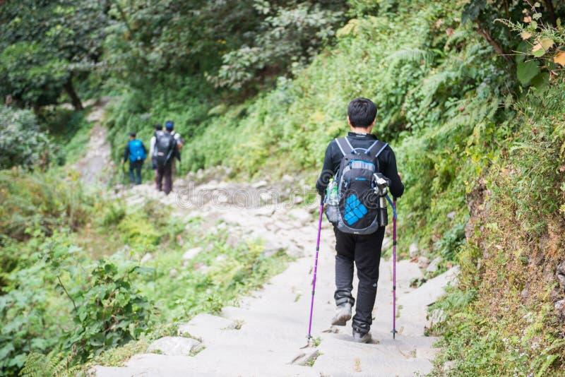 Nepal - 24 de diciembre de 2016:: El caminar a la montaña de Himalaya en Nepal fotos de archivo