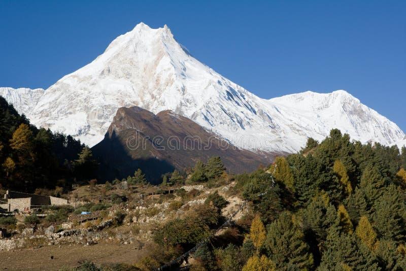Nepal. De nabijheid van Manaslu van de berg. stock afbeeldingen