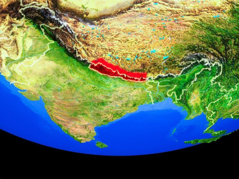 Nepal del espacio en la tierra ilustración del vector