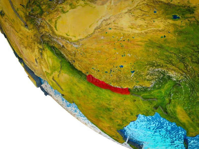 Nepal en la tierra 3D ilustración del vector
