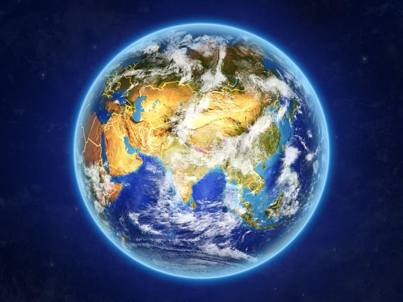 Nepal en la tierra del espacio stock de ilustración