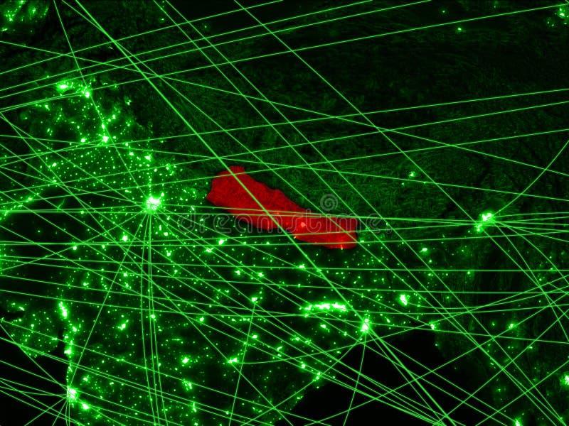 Nepal en mapa verde imagen de archivo
