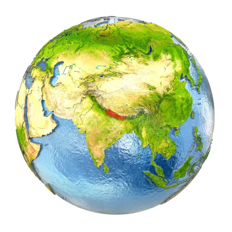 Nepal en rojo en la tierra llena ilustración del vector